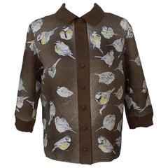 Exceptional Hermès Vintage Silk Shirt Les Mésanges Tit Xavier de Poret Size S/M