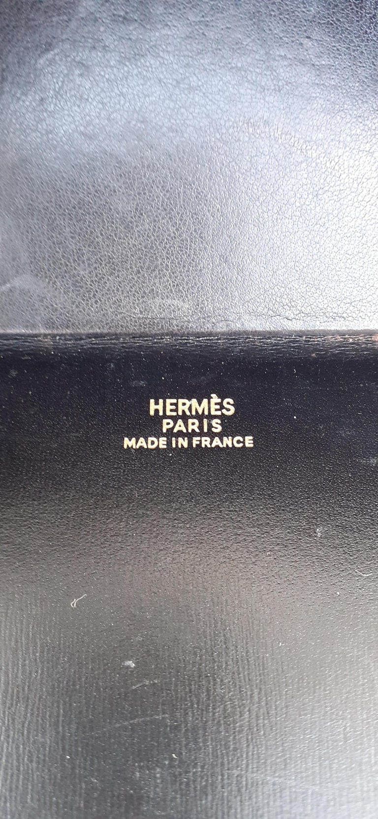 Exceptional Hermès Vintage Tee Time Bag Minaudiere Black Box Leather Ghw RARE For Sale 12