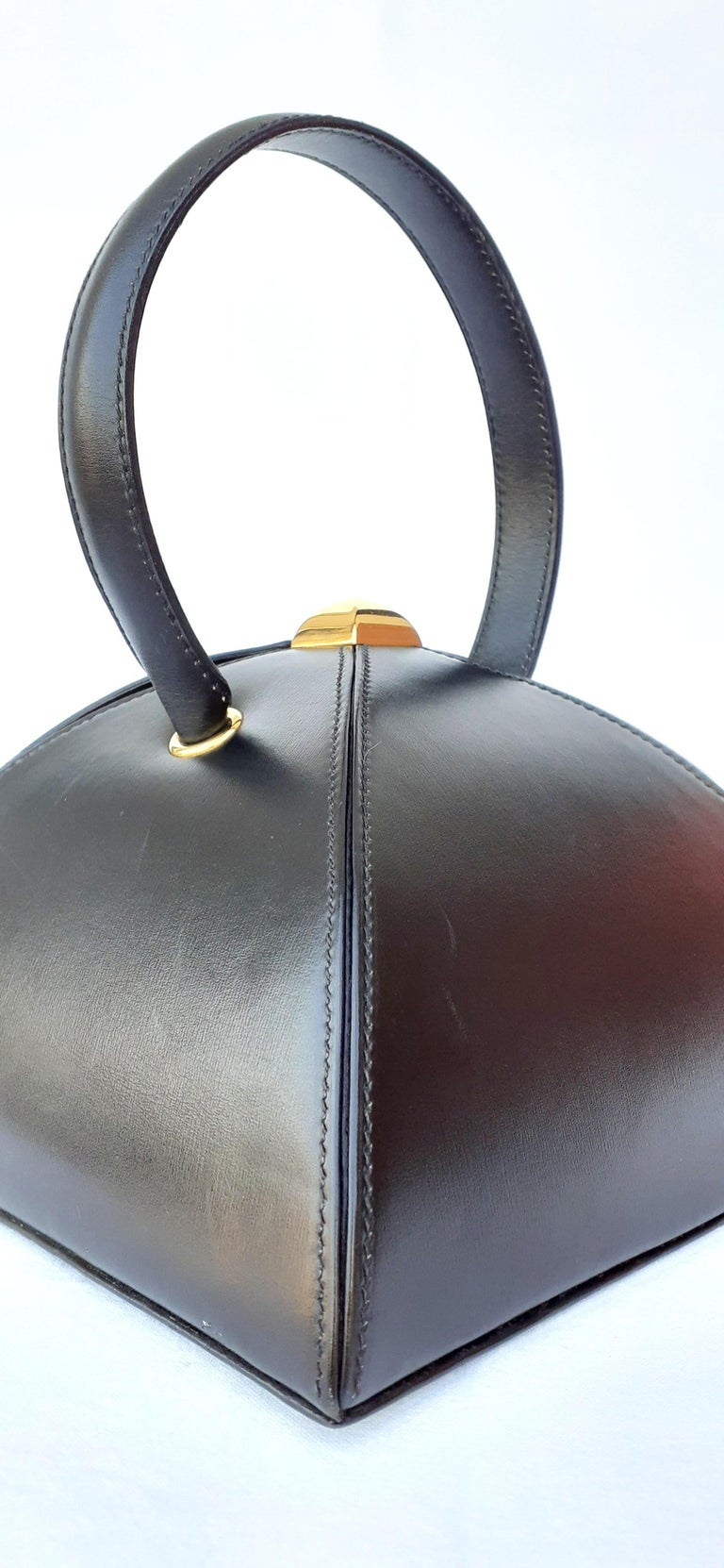 Women's Exceptional Hermès Vintage Tee Time Bag Minaudiere Black Box Leather Ghw RARE For Sale