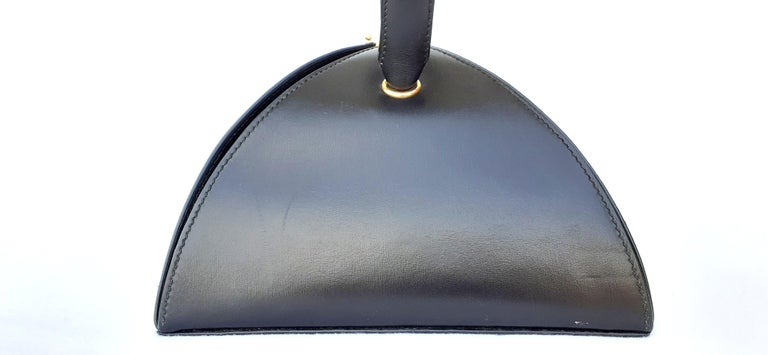 Exceptional Hermès Vintage Tee Time Bag Minaudiere Black Box Leather Ghw RARE For Sale 1