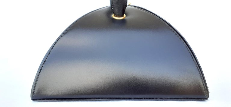Exceptional Hermès Vintage Tee Time Bag Minaudiere Black Box Leather Ghw RARE For Sale 4