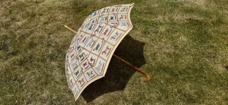 Exceptional Hermès Vintage Umbrella Sunshade Horses Hippodrome Rare For Sale 6
