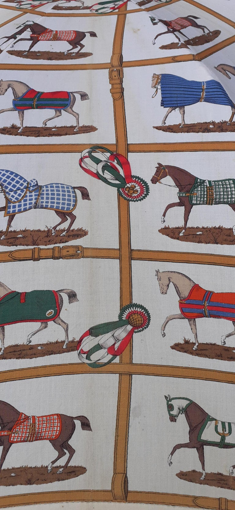 Exceptional Hermès Vintage Umbrella Sunshade Horses Hippodrome Rare For Sale 12