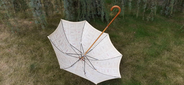 Women's or Men's Exceptional Hermès Vintage Umbrella Sunshade Horses Hippodrome Rare For Sale