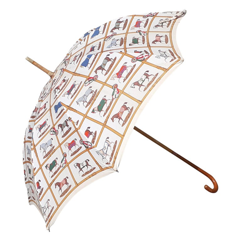 Exceptional Hermès Vintage Umbrella Sunshade Horses Hippodrome Rare For Sale