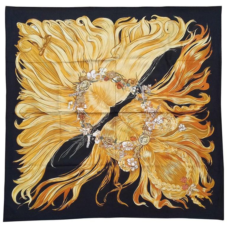 7211568f5 Exceptional Hermès WATERPROOF Silk Scarf EVA Dumas 90 cm RARE For Sale