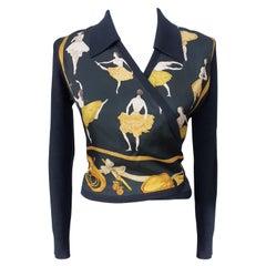 Exceptional Hermès Wrap Vest Sweater La Danse Cashmere and Silk Size S/M