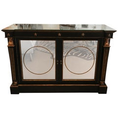 Exceptional Hollywood Regency Ebonized Gilded and Mirrored Sideboard