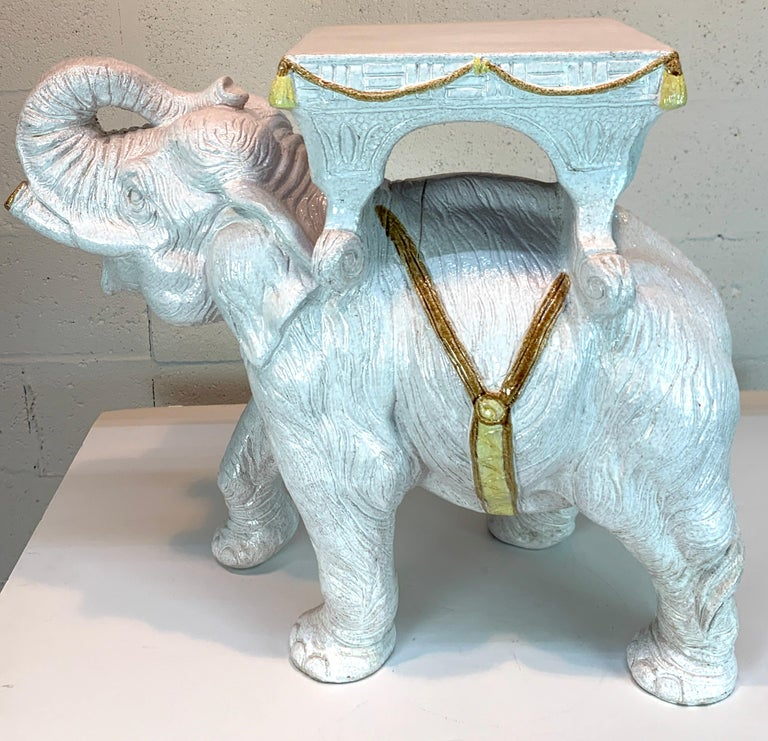 Exceptional Hollywood Regency White Parade Elephant Garden Side Table, Italy For Sale 5