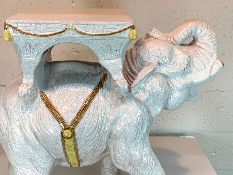 Exceptional Hollywood Regency White Parade Elephant Garden Side Table, Italy For Sale 1
