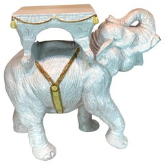 Exceptional Hollywood Regency White Parade Elephant Garden Side Table, Italy