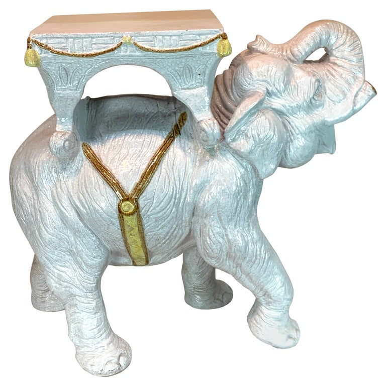 Exceptional Hollywood Regency White Parade Elephant Garden Side Table, Italy For Sale