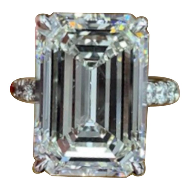 GIA Certified 5 Carat  Emerald Cut Diamond Platinum Solitaire Ring