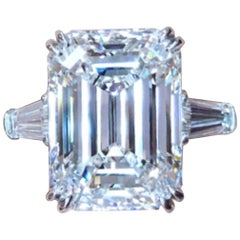Hrd Antwerp 10 Carat VVS1 Clarity H Color Emerald Cut Diamond Ring