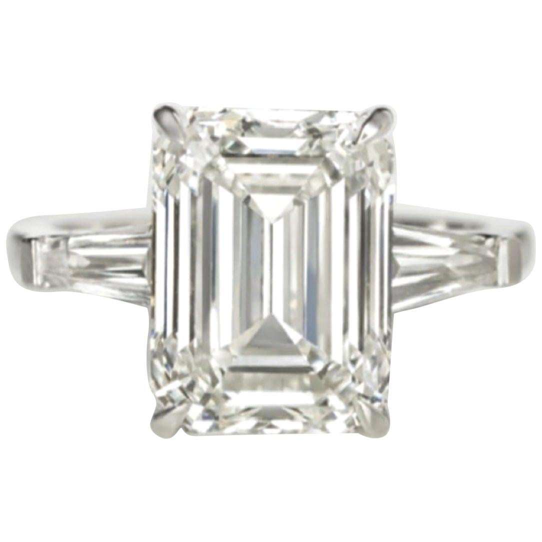 GIA Certified 4.50 Carat Engagement Ring H Color VVS2 Clarity