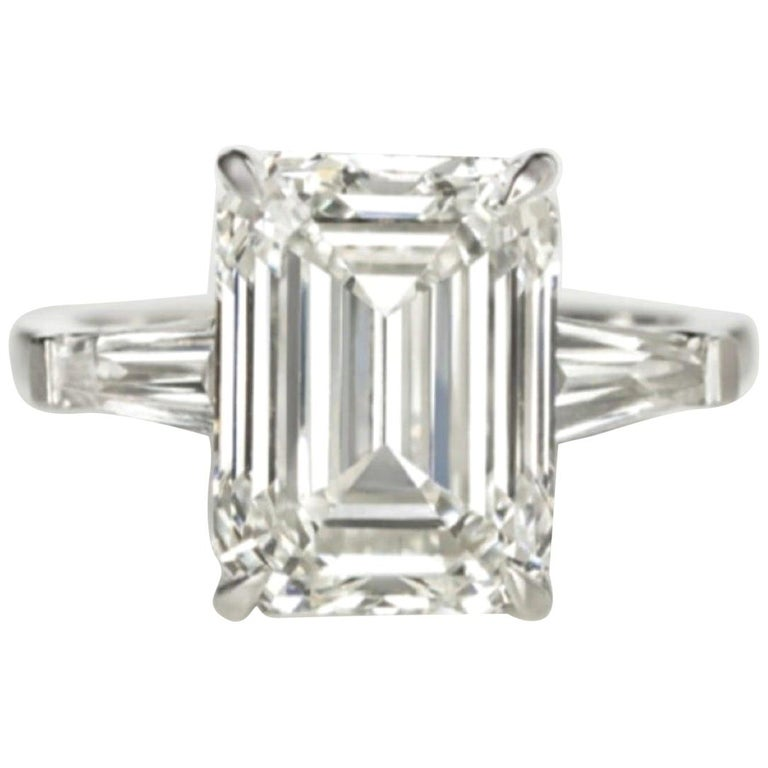 GIA Certified 4.30 Carat Engagement Ring H VVS2 Triple Excellent For Sale