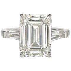 Exceptional HRD Antwerp 6 Carat Emerald Cut Diamond Ring
