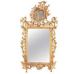 Exceptional Italian 18th Century Carved and Giltwood Mirror, Tuscany 1750