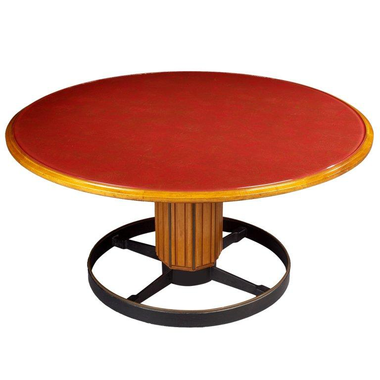 Exceptional Italian, 1950s Fruitwood and Glass Pedestal Table