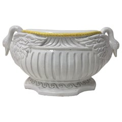 Exceptional Italian Ceramic Swan Motif Oval Garden Seat Table