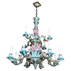 Exceptional Chandelier Hand Painted and Gilded Porcelain, circa 1940