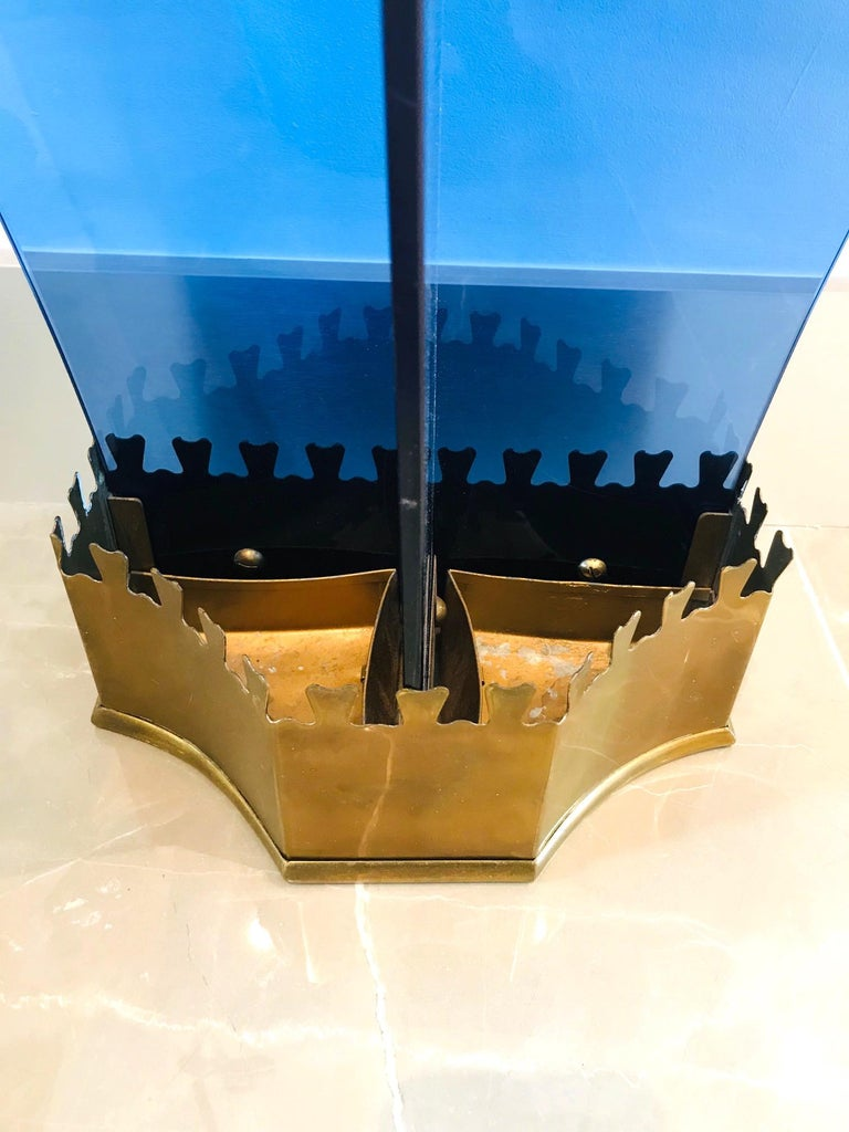 Exceptional Italian Glass and Gilt Iron Umbrella Stand by Fontana Arte, 1950s 4