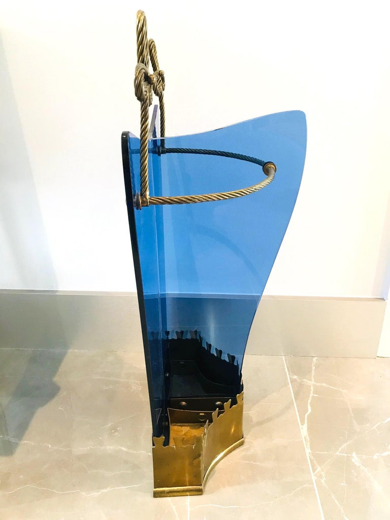 Exceptional Italian Glass and Gilt Iron Umbrella Stand by Fontana Arte, 1950s 5