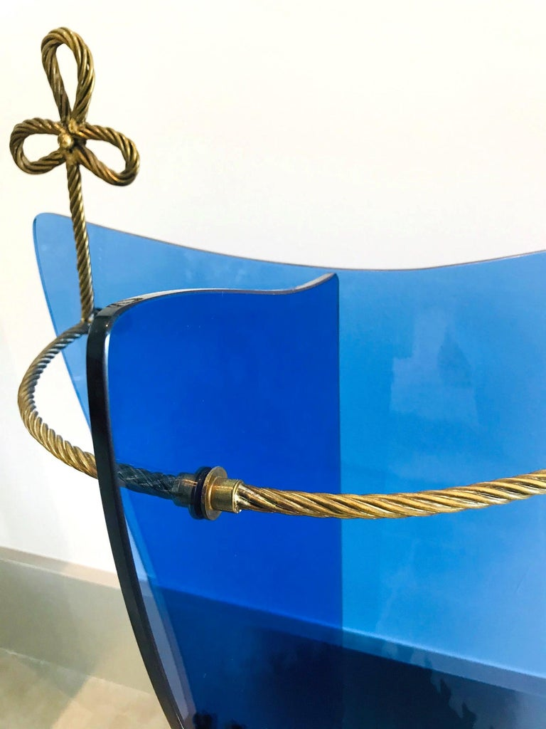 Exceptional Italian Glass and Gilt Iron Umbrella Stand by Fontana Arte, 1950s In Good Condition In Miami, FL