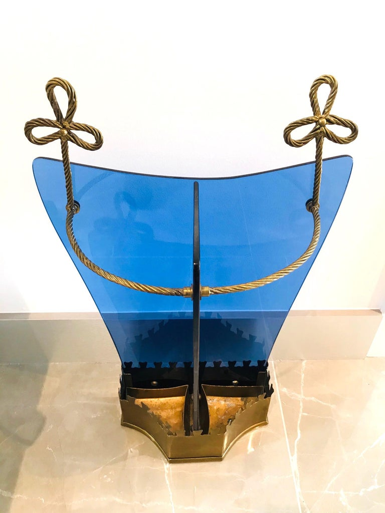 Brass Exceptional Italian Glass and Gilt Iron Umbrella Stand by Fontana Arte, 1950s