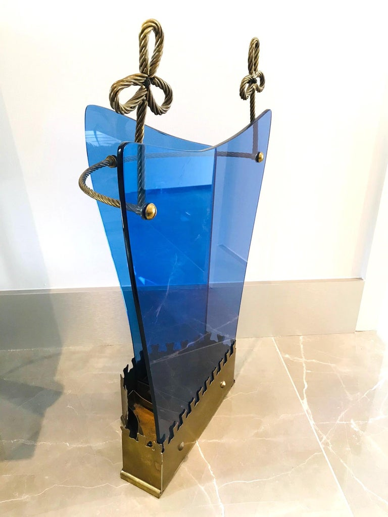 Exceptional Italian Glass and Gilt Iron Umbrella Stand by Fontana Arte, 1950s 1