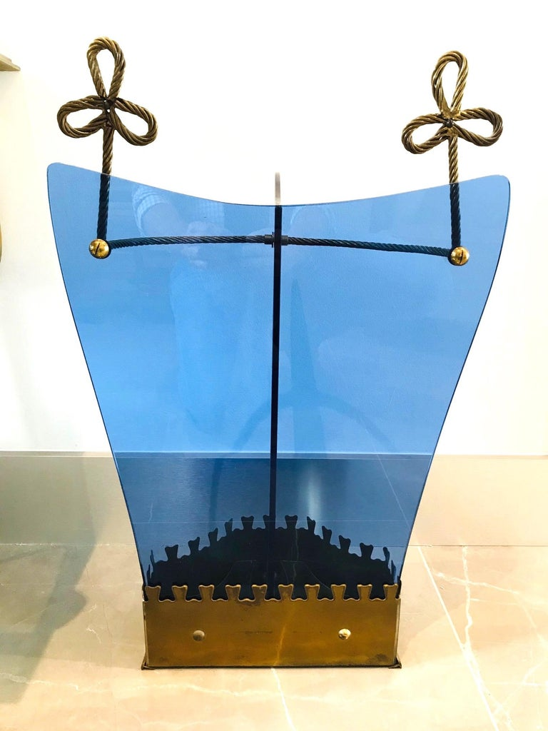Exceptional Italian Glass and Gilt Iron Umbrella Stand by Fontana Arte, 1950s 2