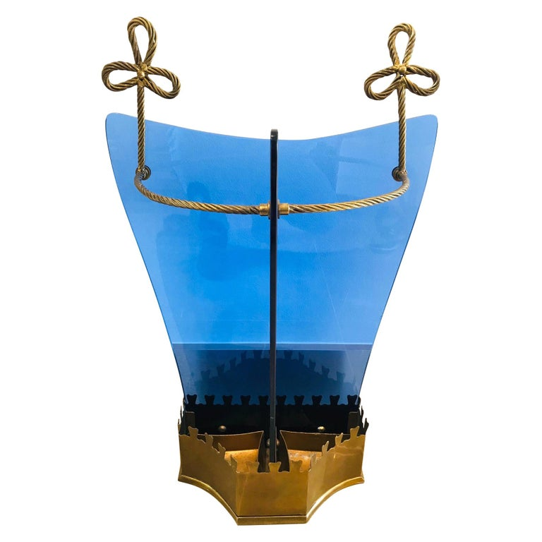 Exceptional Italian Glass and Gilt Iron Umbrella Stand by Fontana Arte, 1950s
