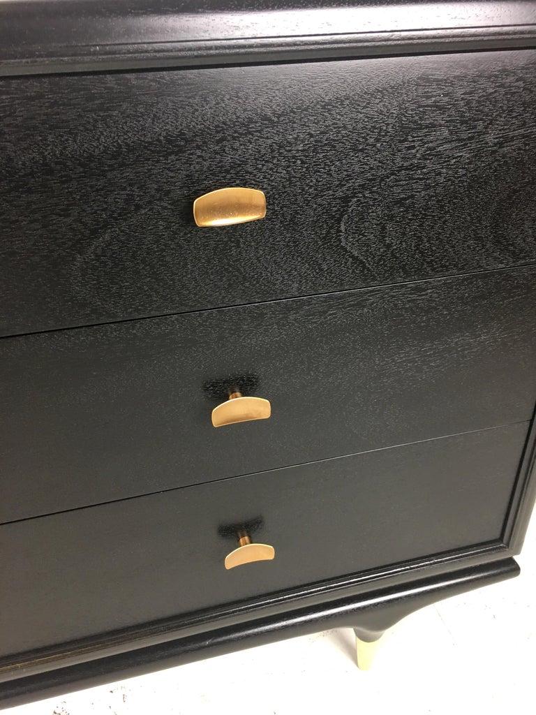 Exceptional Italian Style Ebonized Walnut Six-Drawer Dresser For Sale 2