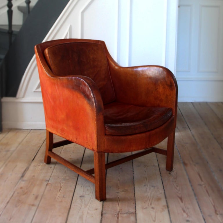 Mid-Century Modern Kaare Klint Mix Chair in Original Niger Leather For Sale