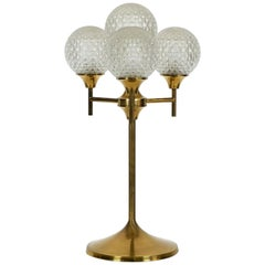 Exceptional Large 1960s Full Brass Table or Floor Lamp with 4 Glass Balls
