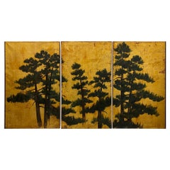 Exceptional Large 19th Century Triptych of Pine Trees Against Gold Leaf Sky