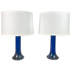 Exceptional Large Deep Blue Pair of Glass Lamps by Luxus, Sweden, 1980
