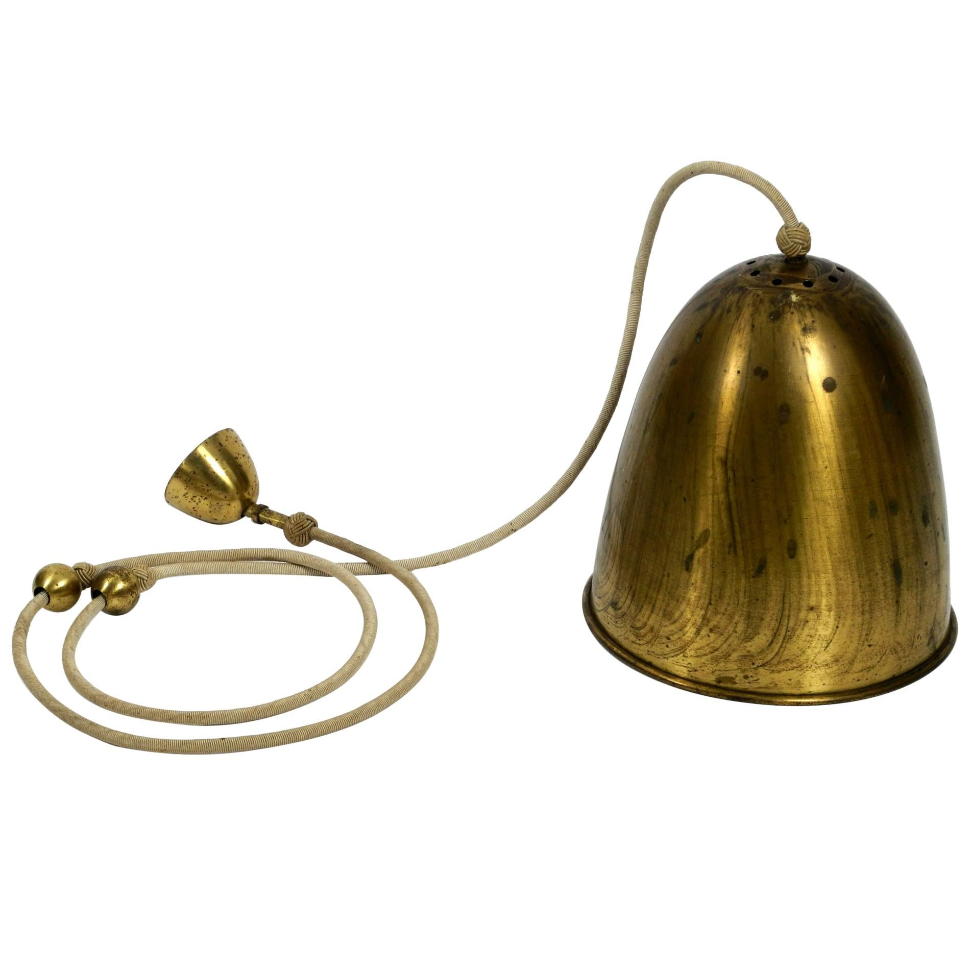 Exceptional Large Heavy Midcentury Brass Pendant Lamp with 3 Sockets