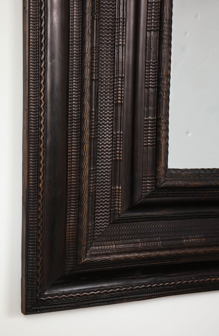 Ebonized Exceptionally Large 17th Century Walnut Guilloché Mirror with Antique Glass For Sale