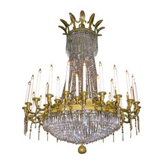 Exceptional Large Louis XVI Crystal and Bronze Chandelier