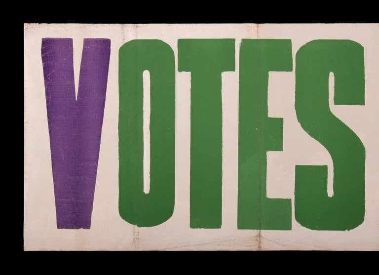 American Exceptional Large Votes for Women Banner in Violet & Green, Made in Hartford, CT