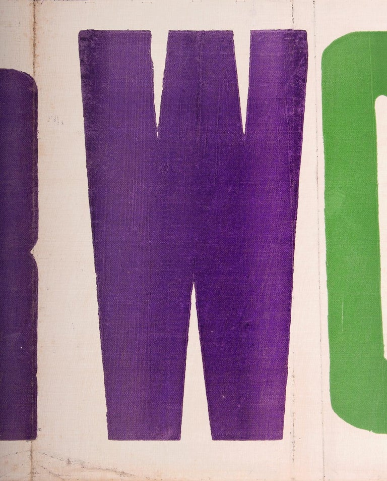 Exceptional Large Votes for Women Banner in Violet & Green, Made in Hartford, CT In Good Condition In York County, PA