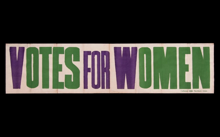 Exceptional Large Votes for Women Banner in Violet & Green, Made in Hartford, CT 1