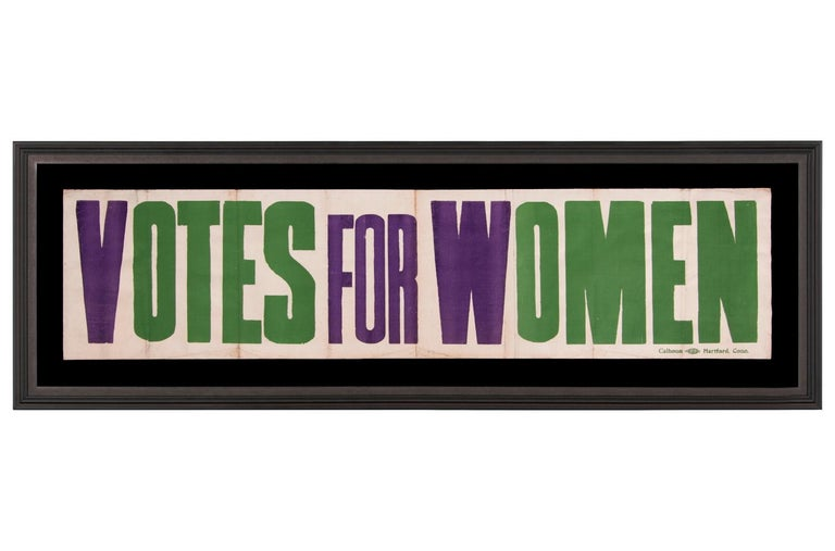 Exceptional Large Votes for Women Banner in Violet & Green, Made in Hartford, CT