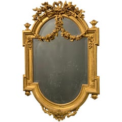 Exceptional Late 19th Century French Louis XVI Style Gilt Bevelled Mirror