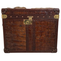 Exceptional Leather Trunk with Crocodile Skin Top