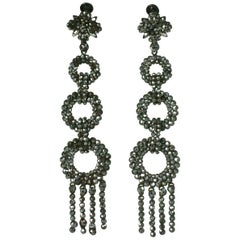 Exceptional Long Victorian Cut Steel Earrings