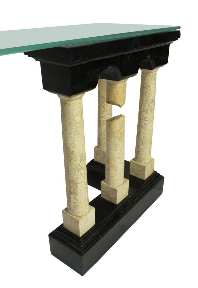Italian Exceptional Marble Console Depicting Classical Ruins For Sale