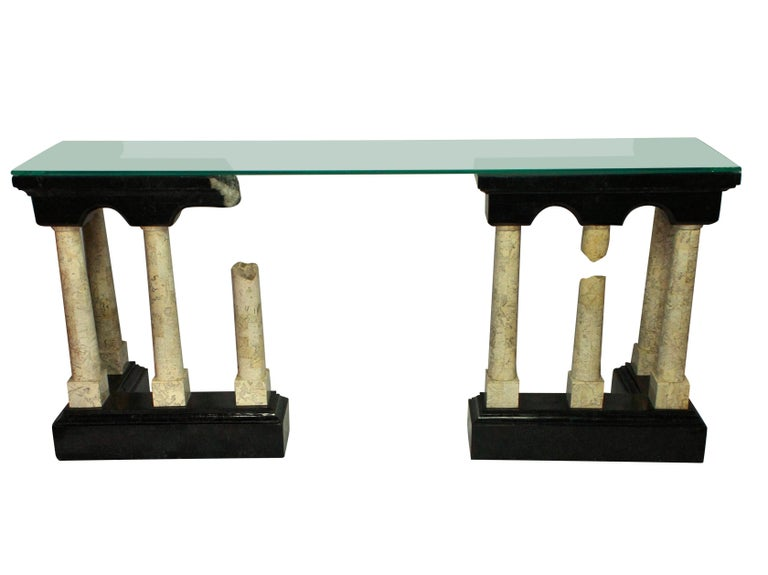 Veneer Exceptional Marble Console Depicting Classical Ruins For Sale