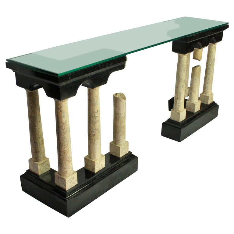 Exceptional Marble Console Depicting Classical Ruins For Sale